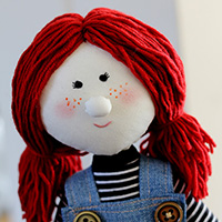 Handmade Freckle Face Fabric Doll